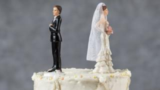 cake toppers facing away from each other on cake
