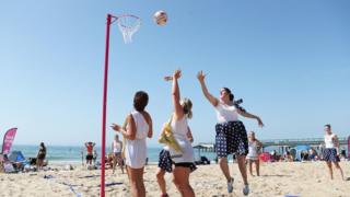 A beach netball tournament on Boscombe Beach in Bournemouth
