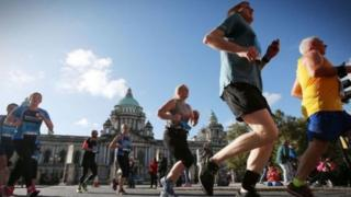 Runners at Belfast Marathon