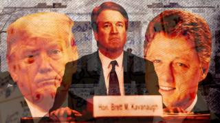 Composite of Donald Trump, Brett Kavanaugh and Bill Clinton
