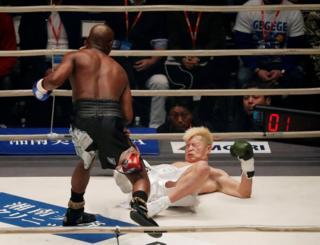 Floyd Mayweather knocks down Tenshin Nasukawa in the first round of their boxing match at the Saitama Super Arena, Tokyo, Japan, 31 December, 2018
