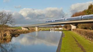 Generated image of an HS2 train on the Birmingham and Fazeley viaduct