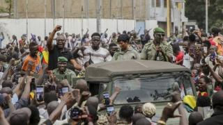 Malians cheer as military enter the streets of Bamako, Mali 18 August 2020