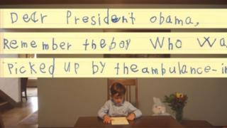 A Casa Branca divulgou um vídeo em que Alex lê sua carta
