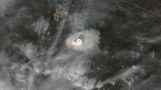 A satellite image of the Alberta wildfire