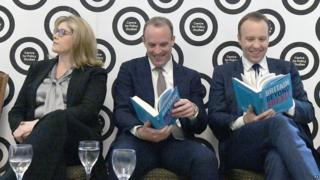 Leadership contenders Dominic Raab (centre) and Matt Hancock (right) at launch of new book on Brexit