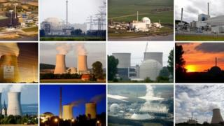 A selection of Germany's nuclear power plants