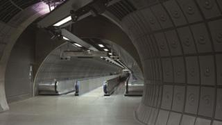 Tube station's two travelators.