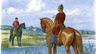 Стефан менен Генрих Темзанын эки тарабында туруп алып сүйлөшүү жүргүзүүдө