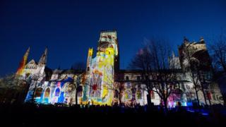 Durham Cathedral lit up during the Lumiere festival