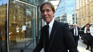 Sir Cliff Richard arrives at the Rolls Building in London for the continuing legal action