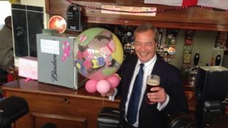 Nigel Farage in a pub in Kent in 2015