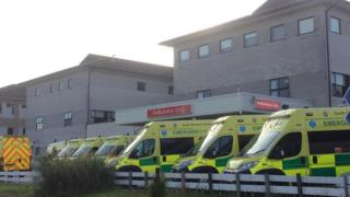 ambulances queuing