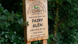 Sign to Fairy Glen, Conwy county