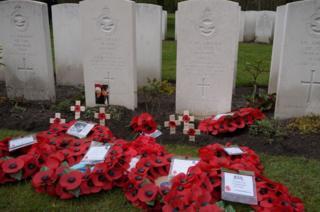 Headstones of airmen at the war cemetery in Berlin
