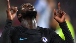 Chelsea's Tiemoue Bakayoko celebrates scoring against Huddersfield