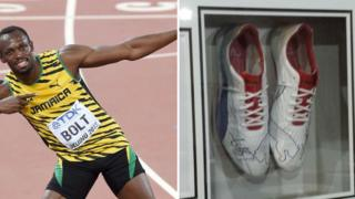 Usain Bolt and signed trainers