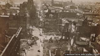 An aerial view of Dublin's Henry St, looking westward from Nelson's Pillar