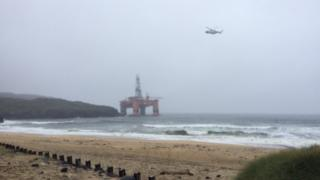 Coastguard helicopter and Transocean Winner