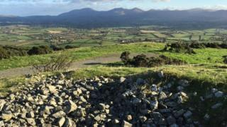 The view of the Mourne mountains from Knock Iveagh Cairn outside Rathfriland