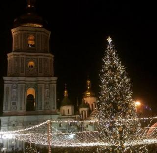 Christmas tree in St Sophia Square in December 2016
