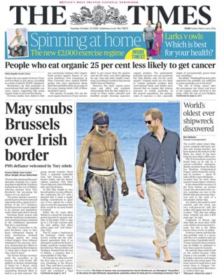 Times front page - 23/10/18