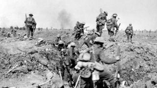 Allied troops leave a trench prior to the battle of Morval, WWI, 1916