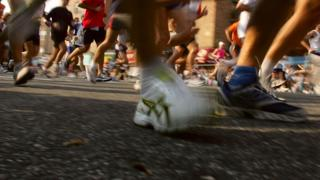 Shoes of runners in a marathon