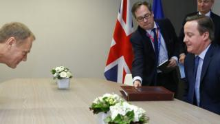 British Prime Minister David Cameron meets European Council President Donald Tusk for a bilateral meeting ahead of a European Union leaders summit at the Council of the European Union on February 18, 2016 in Brussels, Belgium.