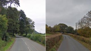 The A495 and the B4560 in Powys