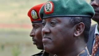 "A photo taken on December 17, 2010 shows Rwandan Lieutenant General Karenzi Karake at Nasho Military training school in Kirehe District, in Rwanda""s Eastern Province,"