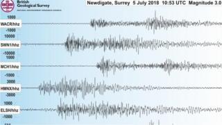 Seismogram of the Surrey earthquake on 5 July