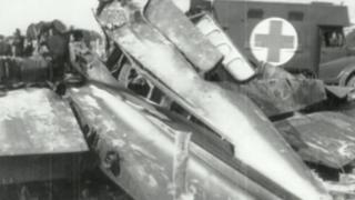 Archive footage of Little Baldon crash wreckage