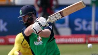 Paul Stirling plays a shot during Ireland's ODI against Australia last year