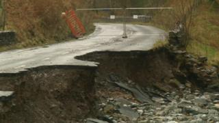 A collapsed section of the A591