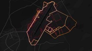 نقشه گرمایی پایگاه هوایی بگرام، بزرگترین پایگاه نظامی آمریکا در افغانستان که تحرک نیروهای آن را نشان میدهد