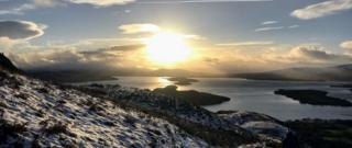 Sunset over Loch Lomond from Conic Hill