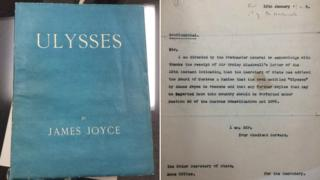 Edition of Ulysses and letter saying it is banned
