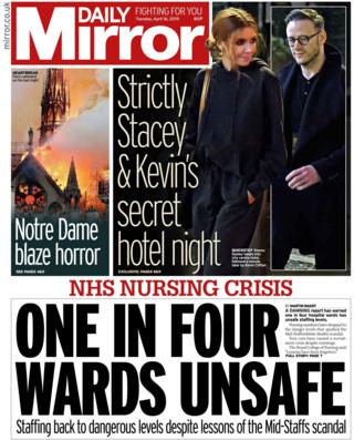 Daily Mirror front page on 16 April 2019