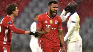 Eric Maxim Choupo-Moting celebrating his goal for Bayern Munich against PSG