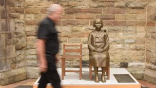 """A statue honouring so-called """"comfort women"""" outside a church in Sydney"""