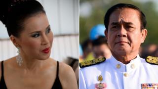 นายกรัฐมนตรีในบัญชีของพรรคไทยรักษาชาติ(ซ้าย) และพรรคพลังประชารัฐ (ขวา)