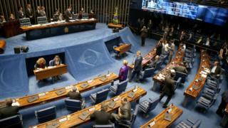 Plénario do Senado em votação sobre Aécio.