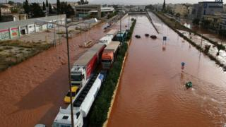 A general view of the flood on a national road at Mandra, near Athens