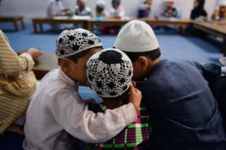 Muslim children at a religious school in New Delhi
