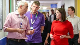 Jo Swinson during a hospital visit to Southampton