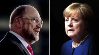 مارتن شولتز (يسار) الذي يتزعم الحزب الديمقراطي الاشتراكي و أنغيلا ميركل مستشارة ألمانيا التي تتزعم الحزب الديمقراطي المسيحي