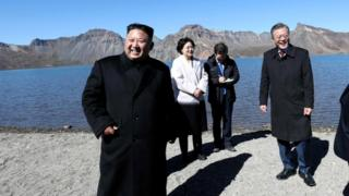 The visit of Moon Jae-in (R) took in the symbolic Mt Paektu