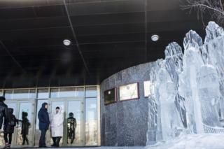 Ледяная скульптура у здания правительства