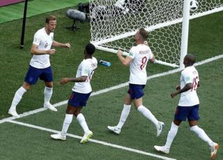 England team taking on Panama in World Cup
